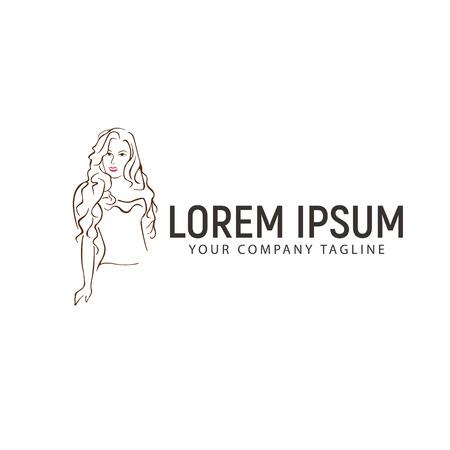 sexy vrouw hand getrokken logo ontwerpsjabloon concept