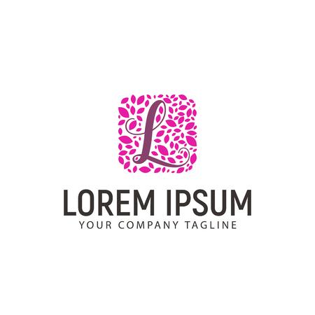 Letter L met bladdecoratie logo. huwelijks schoonheid ontwerpsjabloon concept