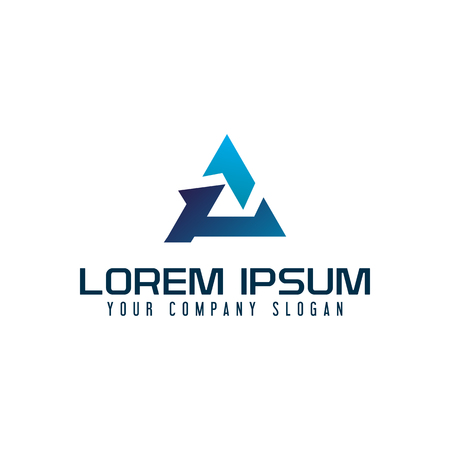 Modern letter A triangle logo design concept template