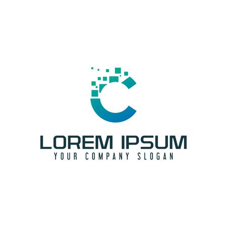 Letter C internet logo design concept template Illustration