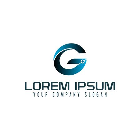 편지 G 기술 로고 디자인 컨셉 템플릿