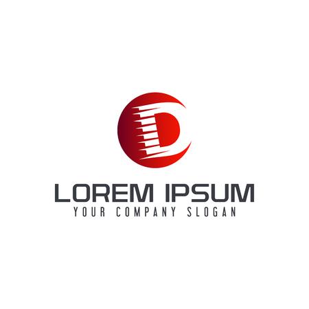 Letter D speed logo design concept template