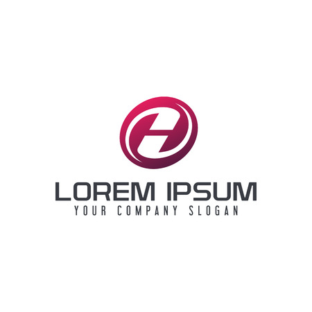 Letter H emblem logo logo design concept template Vettoriali