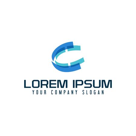 Letter C logo. tech multimedia design concept template