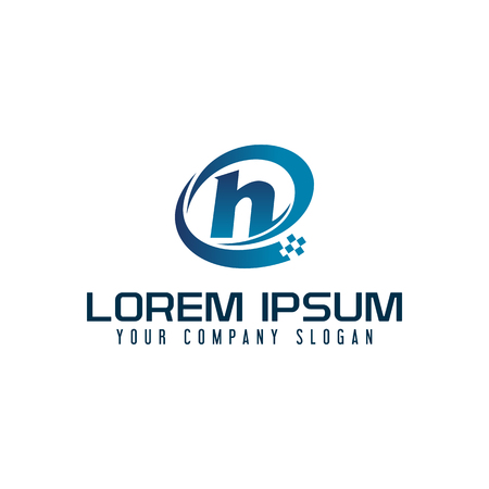 lettre h logo. concept de conception de modèle de la technologie