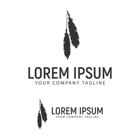 A feather logo design concept template
