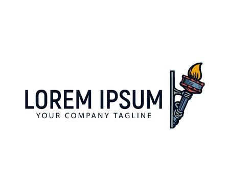 Een fakkel hand getrokken logo ontwerpsjabloon concept Stock Illustratie