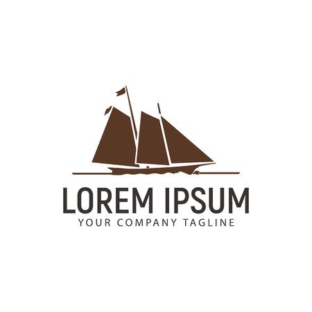 A ship logo design concept template Illustration