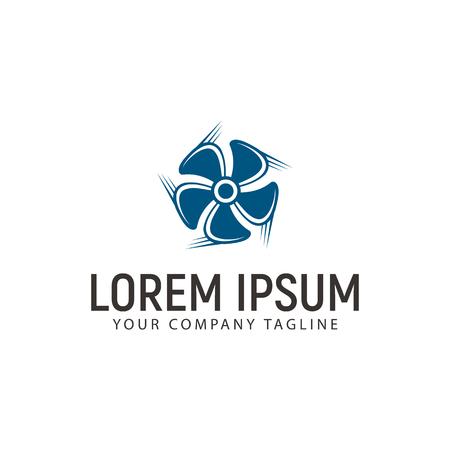 A turbine fan logo design concept template