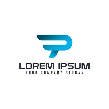 A modern letter P logo. fast speed design concept template