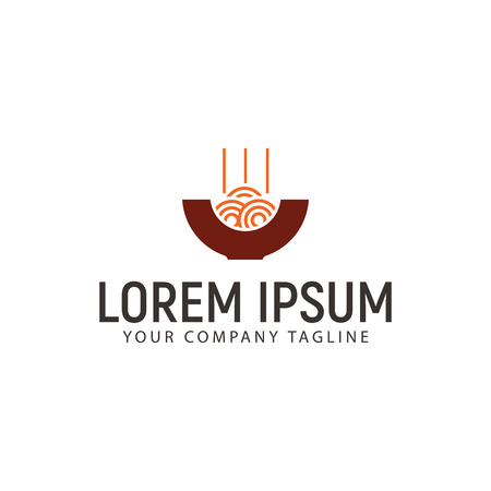 麺のロゴ デザイン コンセプト テンプレート