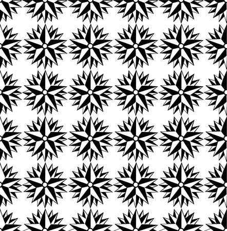 Vector seamless pattern. Black and white Repeating geometric star pattern motif. Ilustração