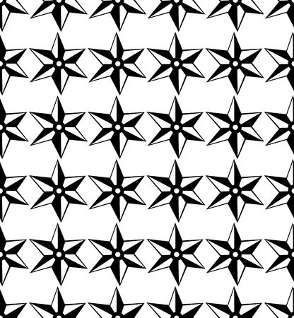 Vector seamless pattern. Black and white Repeating geometric star pattern motif. Ilustrace
