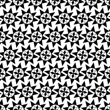 벡터 원활한 패턴입니다. 흑백 기하학적 인 스타 패턴 모티브를 반복합니다.