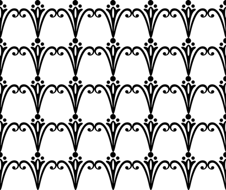 Vector seamless pattern. Black and white Repeating swirl pattern