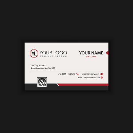 Plantilla de tarjeta de visita moderna creativa y limpia con color rojo negro Ilustración de vector