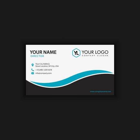 Modern Creative and Clean Business Card Template with blue dark color Фото со стока - 89409583