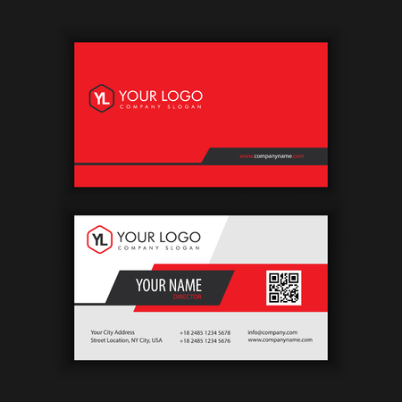 Modern Creative and Clean Business Card Template with Red Black color Vettoriali