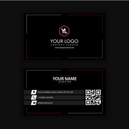 Modern Creative and Clean Business Card Template with Red Black color Banco de Imagens - 89409600