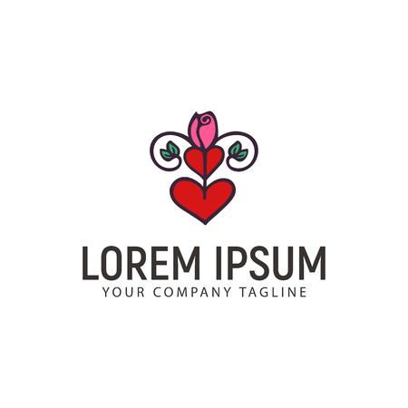 rose love logo hand drawn design concept template