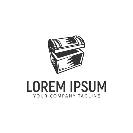treasure chest logo design concept template Stock Illustratie