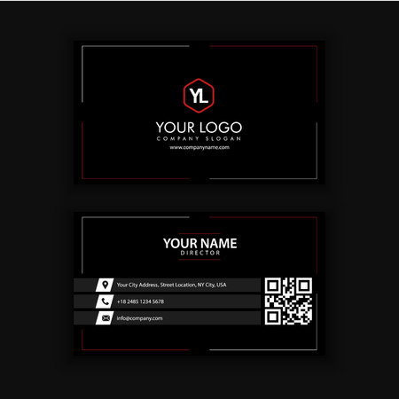 Modern Creative and Clean Business Card Template with Red Black color Banco de Imagens - 89409997