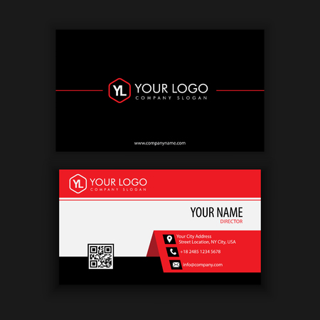 Modern Creative and Clean Business Card Template with Red Black color Ilustração