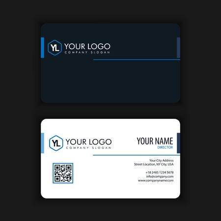Modern Creative and Clean Business Card Template with blue dark color Stock Vector - 89436760