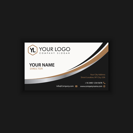 Modern Creative and Clean Business Card Template with gold dark color Иллюстрация