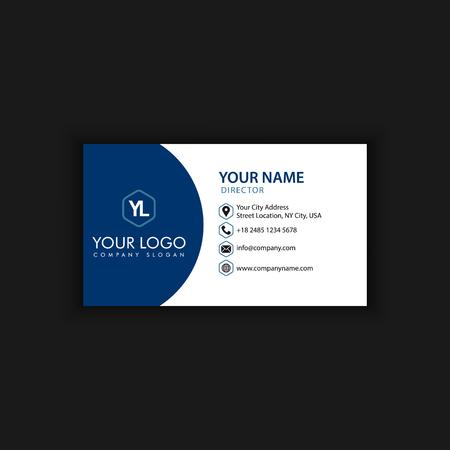 Modern creatief en schoon visitekaartje met blauwe donkere kleur
