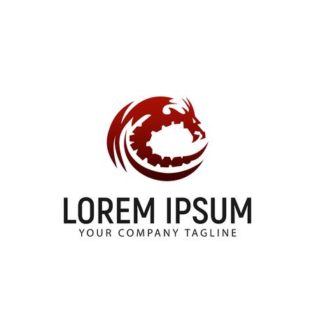 Dragon icon design template, vector illustration.