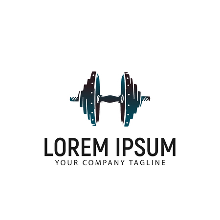 barbell logo design concept template 矢量图像