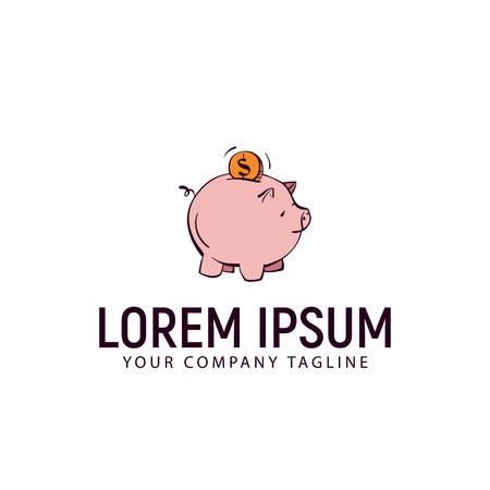 Finance pig icon hand drawn design template, vector illustration. Illustration