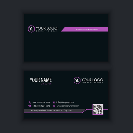 Modern Creative and Clean Business Card Template with purple black color Illustration