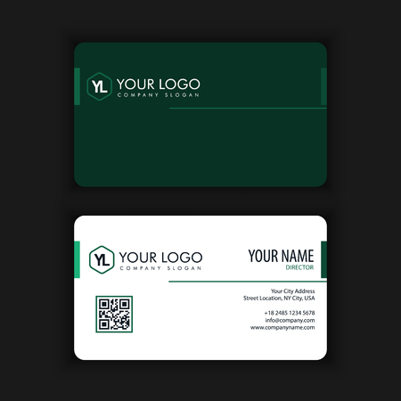 Modern Creative and Clean Business Card Template with green dark color Ilustração