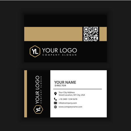 Modern Creative and Clean Business Card Template with gold dark color Stock Illustratie