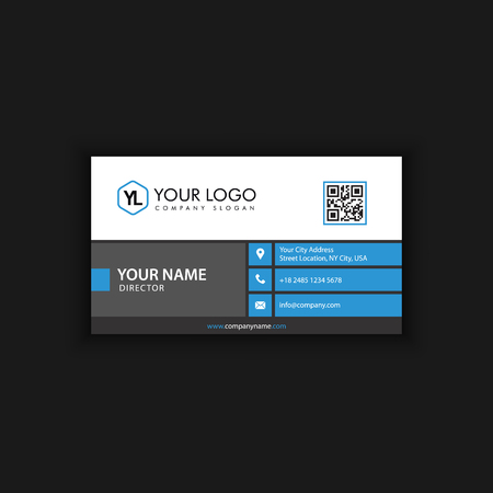 Modern Creative and Clean Business Card Template with blue dark color Banque d'images - 104925175