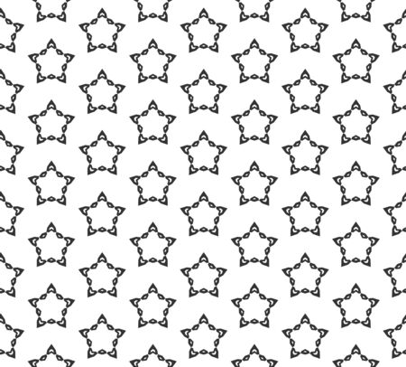 Abstract star geometric Seamless pattern . Repeating geometric Black and white texture.