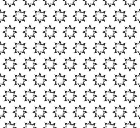 추상 스타 형상 원활한 패턴입니다. 기하학적 인 흑백 질감 반복. 일러스트