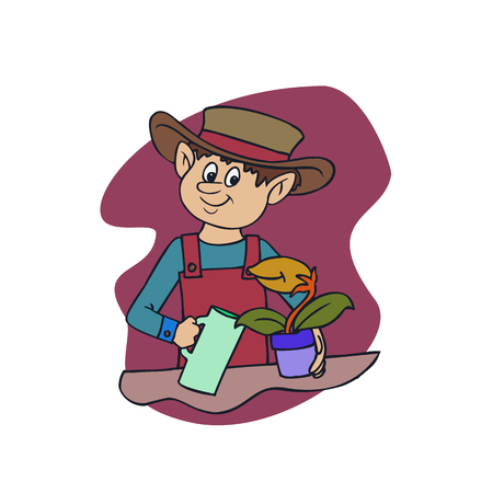 A happy man watering a plant vector illustration.