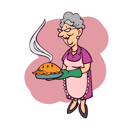 The mother carries a cake cartoon. Illustration