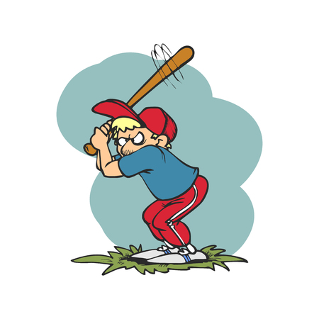 A base ball player is trying to hit a ball vector illustration.