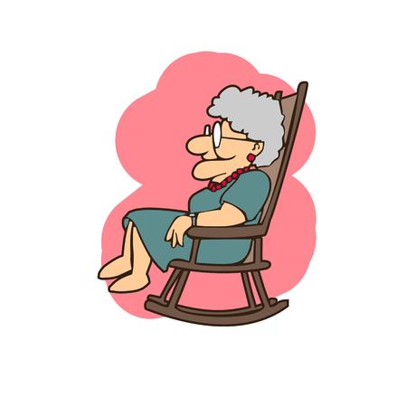 Una anciana con el vidrio se sienta en una silla ilustración vectorial Foto de archivo - 94028689