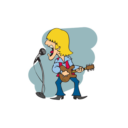 An adult man is singing with guitar vector illustration.