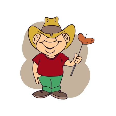 An adult man with a hat is eating vector illustration.