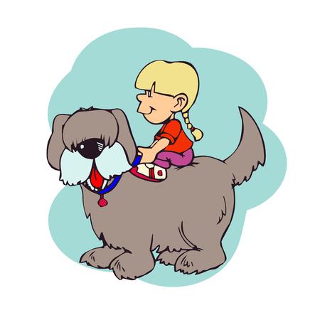 犬の背中に座っている小さな女の子のイラスト  イラスト・ベクター素材