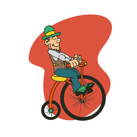 An old man with hat is driving a bicycle vector illustration.