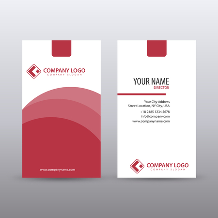 Modern Creative vertical Clean Business Card Template with Red color. fully editable vector  イラスト・ベクター素材
