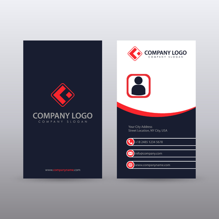 Modern Creative vertical Clean Business Card Template with Red blue color . Fully editable vector. Иллюстрация