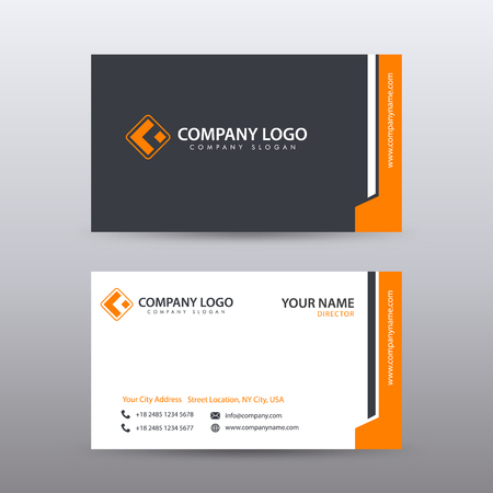 Modern Creative and Clean Business Card Template with orange Black color . Fully editable vector. Vectores